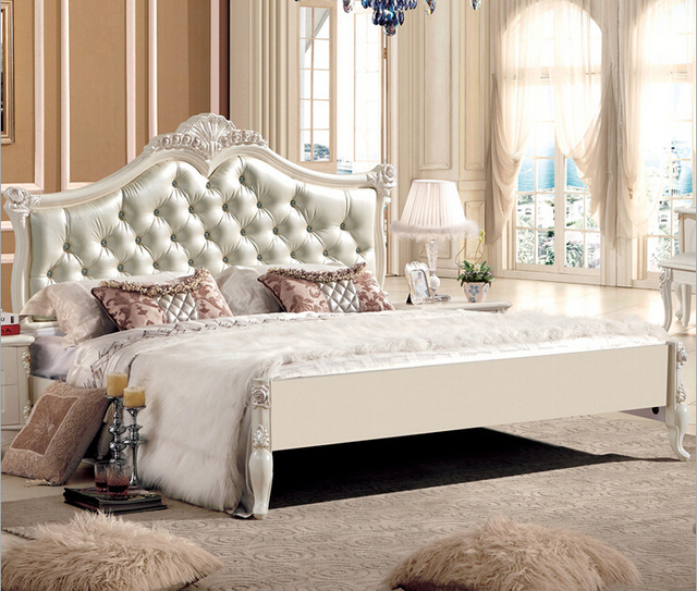 White Color Hand Carving Bed 8800