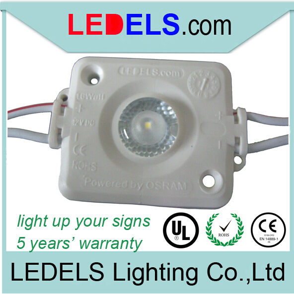 300PCS/lot 5 years warranty 1.6w 120lm 12v Osram /Nichia high power led signage lighting modules for light box signs,waterproof
