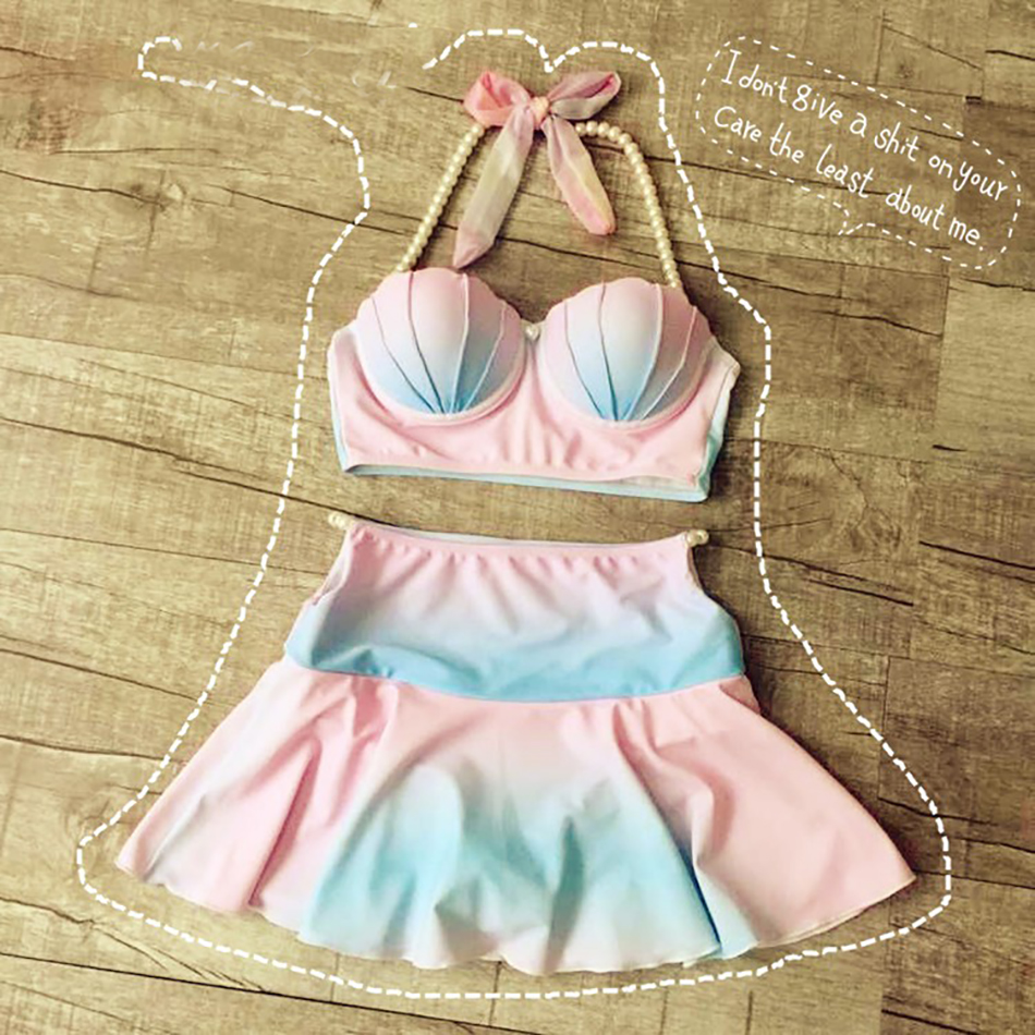 ФОТО Pocket Girl  Women Sweet Cameo Shell Bikini Pastel Rainbow Mermaid Swimsuit Beach Swimwear Strappy Bra maillot de bain
