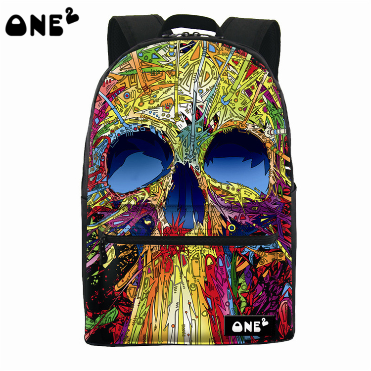 2016 ONE2 Design skull pattern printing polyester and nylon backpack bag best popular waterproof backpack and