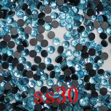 SS30 288 штук Пакет аквамарин кристалл DMC горячей фиксации FlatBack стразы стекло strass теплопередача Горячая фиксация кристаллы Камни