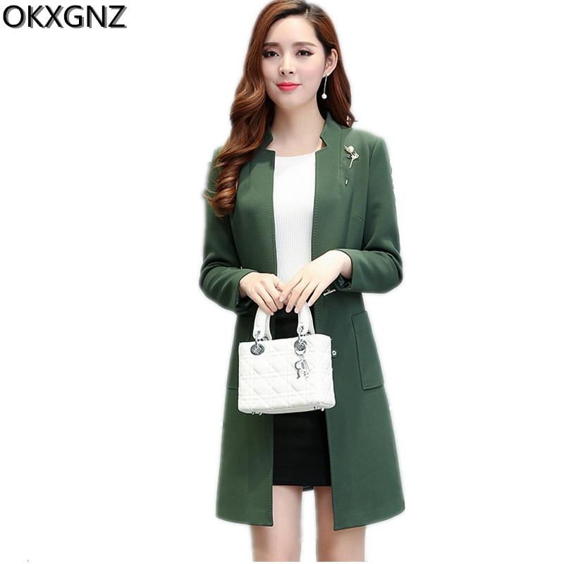 OKXGNZ Korean Women's Jacket 2017 Spring New Temperament Large Size Lady Coat Solid Color Women Basic Coats Tops Plus Size A191