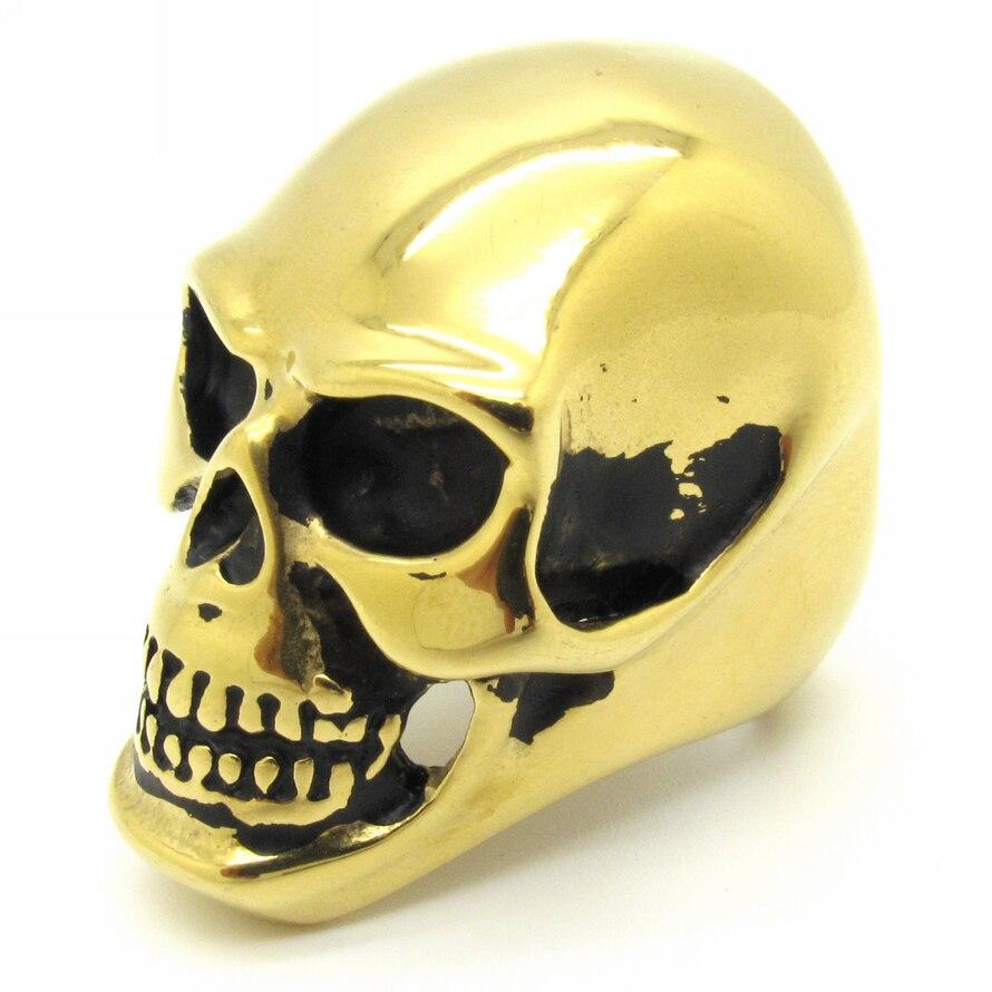 Rings Jewellery For Mens Boys Gothic Silver Gold Devil Skull Ring ...