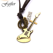 Fashion punk rock electric guitar musical instruments Pendant and Necklace Fashion Jewelry