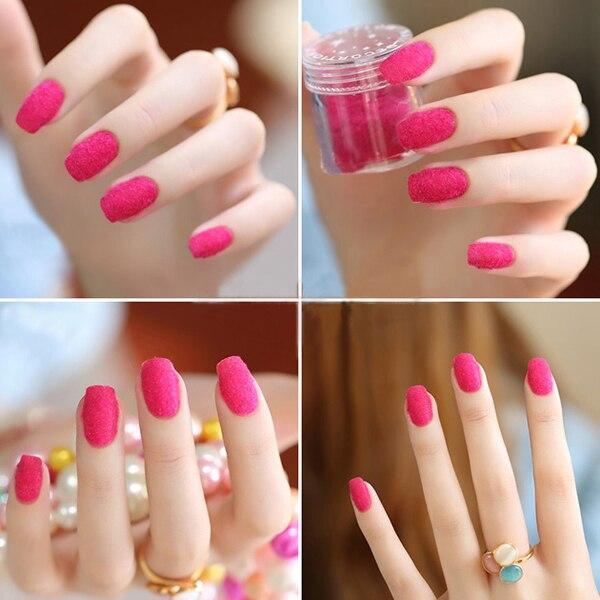 New Style 12 Colors Velvet Flocking Powder For Velvet Nails Manicure ...