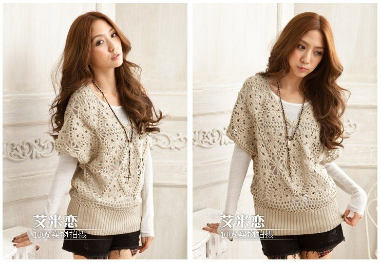 Free shipping Hand Crocheted women short sleeve sweater / Pullover ...