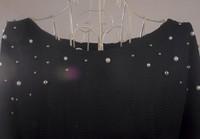 женщины осень и зима темперамент плечи жемчуг вышивка бисером длинная рукавами с круглым вырезом в форме крыла летучей мыши свитер dq106