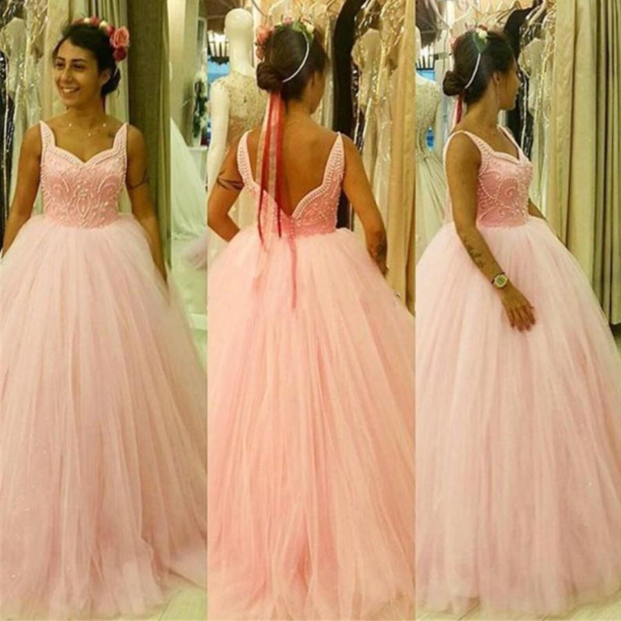 hot sale sweetheart beaded tulle pink wedding dress bridal dress