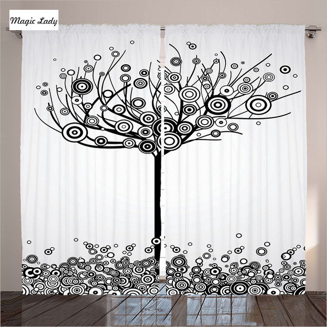 Tree Of Life Curtains Decor Circle Leaves Round Plants Spiral Dot Design Black White Living Room
