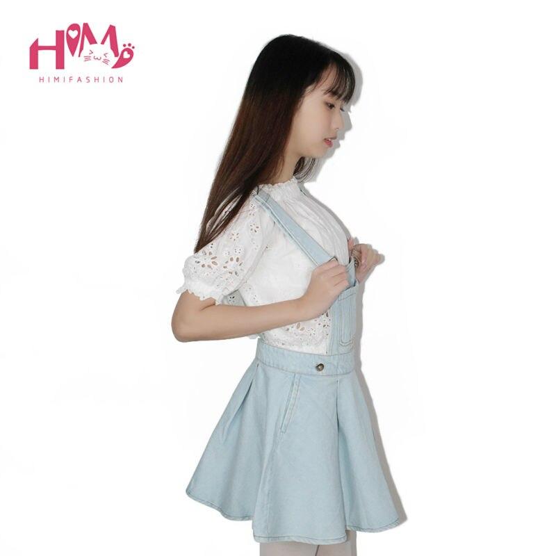 Vivi Japan Sstrap School Denim Dress For Ladies Dark Blue Removable Summer Detachable Student Overalls Dress Women Kawaii Cloth 4