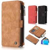 Luxury Flip Leather Case For IPhone 7 5 6 6s Plus Zipper Mini Man Purse Wallet