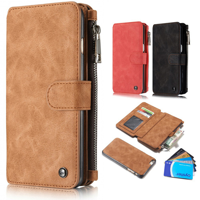 728f0c8ce6d9 US $10.82 |Luxury Flip Leather Case For iPhone 7 5 6 6s Plus Zipper Mini  Man Purse Wallet Card Slot Holder Bag Cover For Samsung S6 S7 Edge-in  Wallet ...
