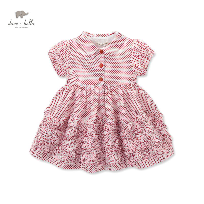 DB3279 dave bella summer baby girl vintage style princess dress baby retro dress kids birthday clothes dress children costumes