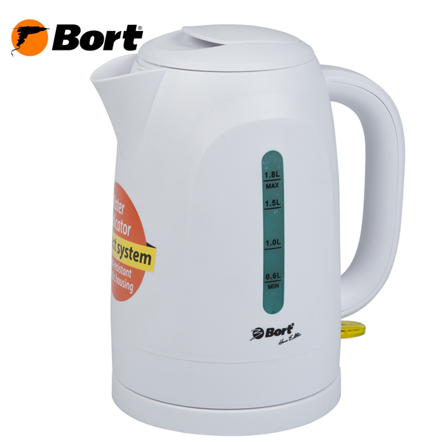 Чайник электрический Bort BWK-2218P (съемный фильтр от накипи, корпус из термостойкого пластика, объем 1,8 л.)