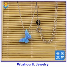 Fashion Korean Classic design Synthetic opal butterfly 8.6*14mm sterling Silver Box Chain neckalce jewelry Free Shipping