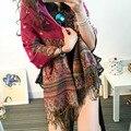 2016 женская мода осень шарфы женщины тонкие длинные жоржет шаль листьев печати шали и шарфы