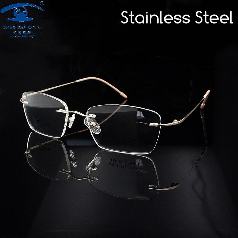 e7162ac6483b2 Novas Mulheres De Luxo Sem Aro Armações de óculos de Aço Inoxidável  monturas de lentes mujer Feminino Lente Clara Mulheres Armação de óculos Rx