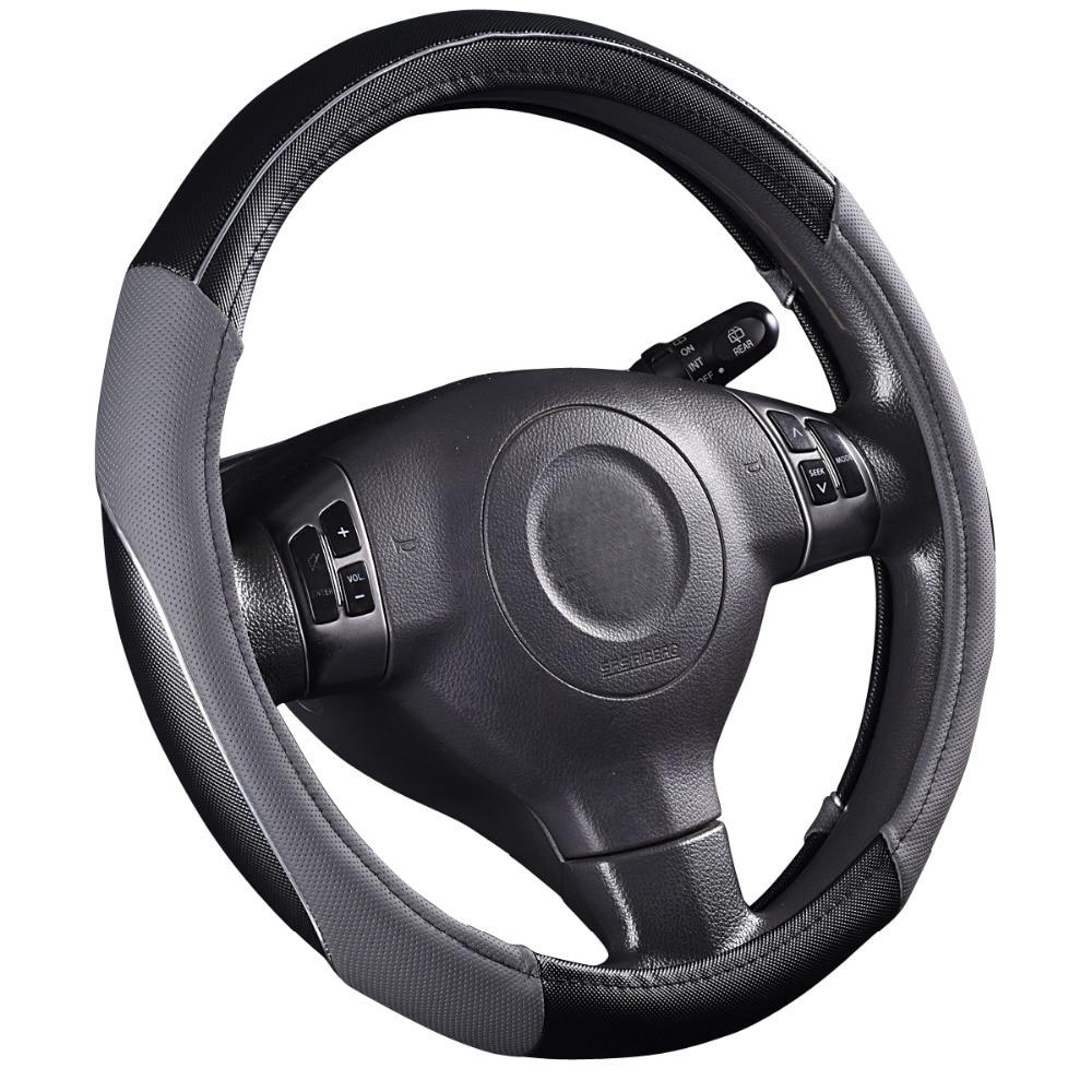 Car pass steering wheel 38cm Pvc Leather Hand stitched genuine leather Car Steering Wheel Cover Fit