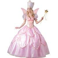 新しいファッションピンクの王女の衣装大人ファンシードレスで帽子ペチコート