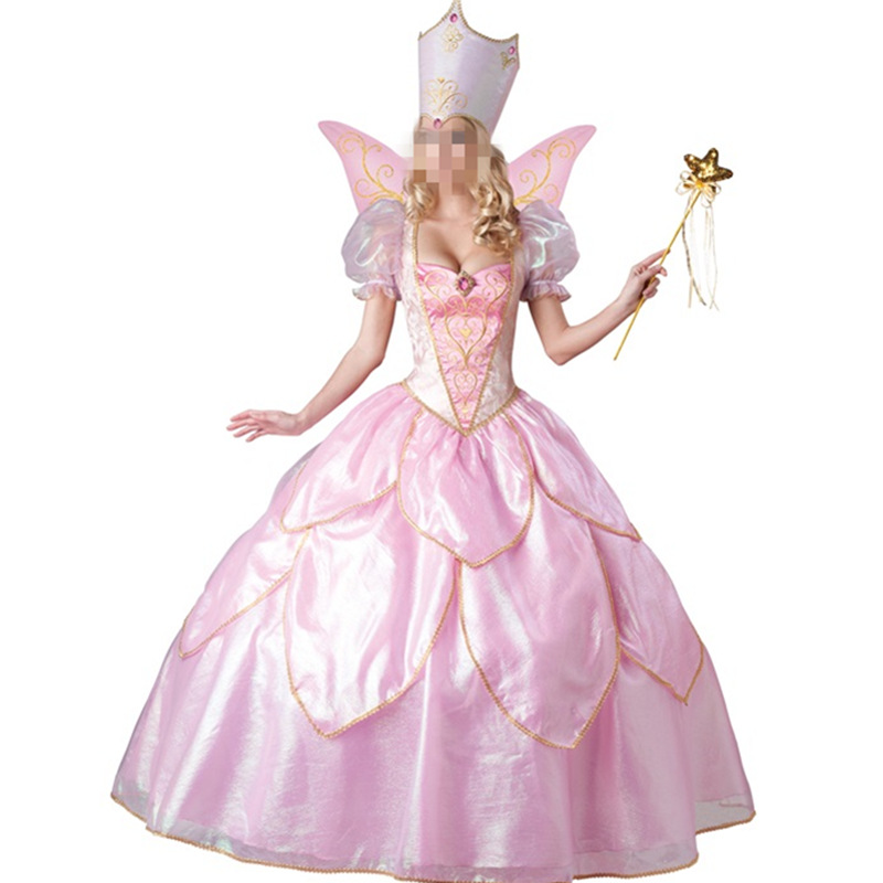New Fashion Pink Princess Costume for Women Adult Fancy Dress With Hat Petticoat