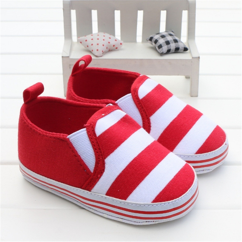 Baby Shoes Girls Boys 2016 Fashion Striped Shoes Super Soft Casual Classic Slip-On Toddler Infant Baby Kids Girl Pram Shoes