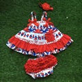 2016 new baby girl 4th of July swing outfits little girls swing top bloomer set May Memorial day outfits with headband