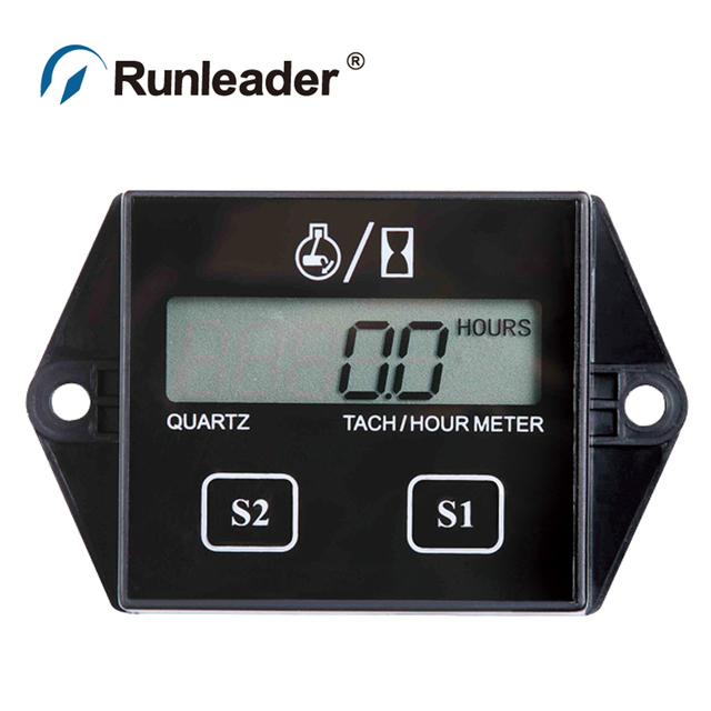 Runleader RL-HM011A Digital tach Tachometer Hour Meter for outboard motorbike chainsaw lawn mowers mopeds snowmobile utv ATV
