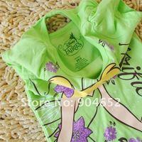 оптовая продажа новорожденных девочек мультфильм феи с коротким рукавом футболка + фиолетовый шифоновая юбка 2 шт. комплект лета костюм