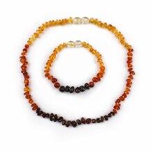 Arco iris de Colores Pulsera de Ámbar Báltico Natural Certificada Bebé Masticar y La Dentición Collar de La Joyería Set de Regalo Para Bebé Niños