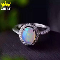 100 Natural Opal Gems Ring Genuine Solid 925 Sterling Silver Precious Stone Gold Plated Woman Fine