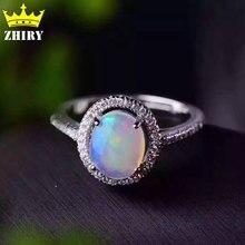 Природный опал драгоценных камней кольцо Подлинная Твердых стерлингового серебра 925 драгоценный камень размер 7*9 мм женщина тонкие цветные камни ювелирные изделия