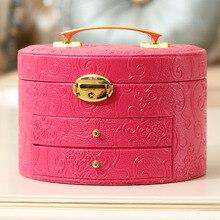 Фиолетовый цвет мода кожа коробка ювелирных изделий большое пространство с зеркало высокого качества коробка ювелирных изделий бесплатная доставка