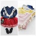 Varejo 2016 Primavera Outono Bebê roupas de Menina bonito Sólida Borla Manga Longa blusa para meninas Amarelo/Rosa e Marinha azul