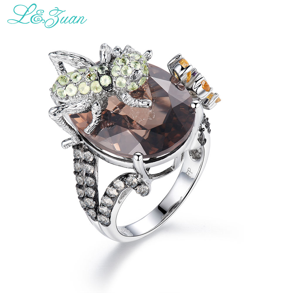 L & zuan 925 стерлингового серебра коричневого цвета роскошные кольца паук для женщин кольцо с натуральным топазом ювелирное изделие с бриллиан
