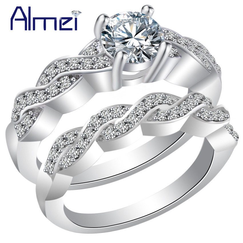 d8e8167e25 Almei 5%Off 2 PCS New Fashion Korea Crystal CZ Zircon Trendy Rings for  Party Women's Ladies Ring Jewelry Bagues Hommes BMR83