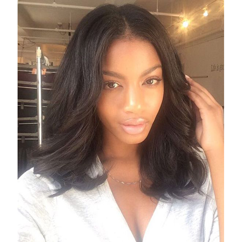 Natural Wave Middle Part Lace Front Wigs Bob Style Wavy