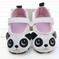2016 Spring Summer Cute White Baby Girls Lovely Panda Shoes Soft Bottom Frist Walker PU Leather