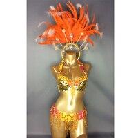 Хит продаж пикантные Samba Rio карнавальный костюм Новый живота Танцевальный костюм с ярко розовый Цвет & orange перо головной убор Бесплатная дос