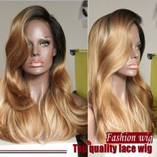 New Malaysian Natural Wave Wig Three Tone Color Black/Brown/Blonde Synthetic Lace Front Wigs Heat Resistant Synthetic Hair Wigs