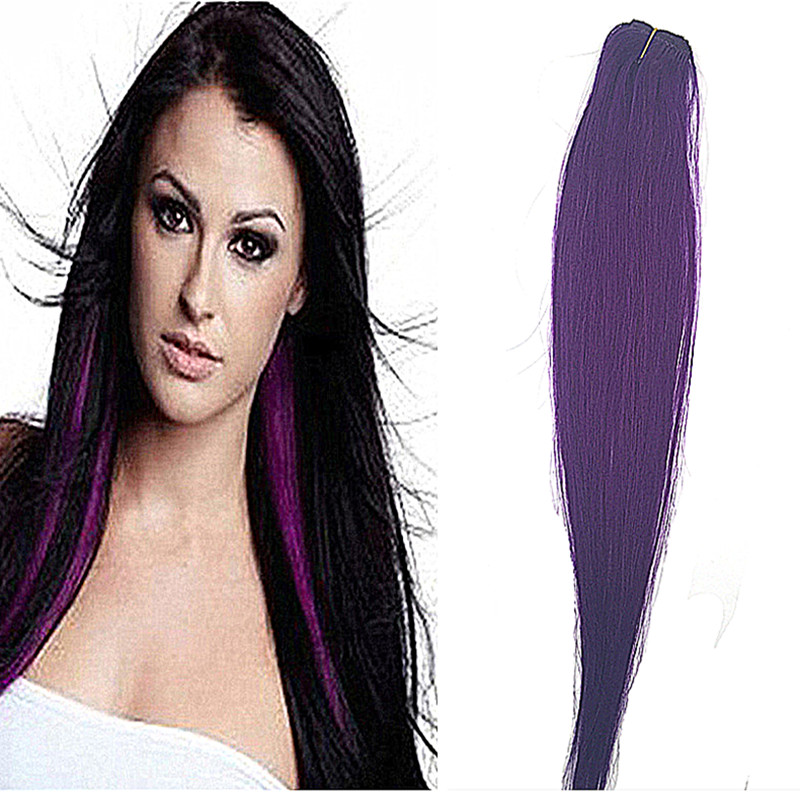 Full Shine 5pcs Clip in Hair Extensions Straight Highlighted Purple Clip in Human Hair Extensions 14″-24″ Clip Hair Extensions