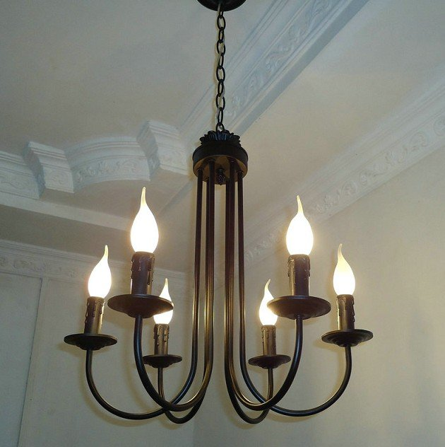 Free Shipping 6 Pieces E14 Black European Wrought Iron Chandeliers Classical Candle Chandelier Bedroom