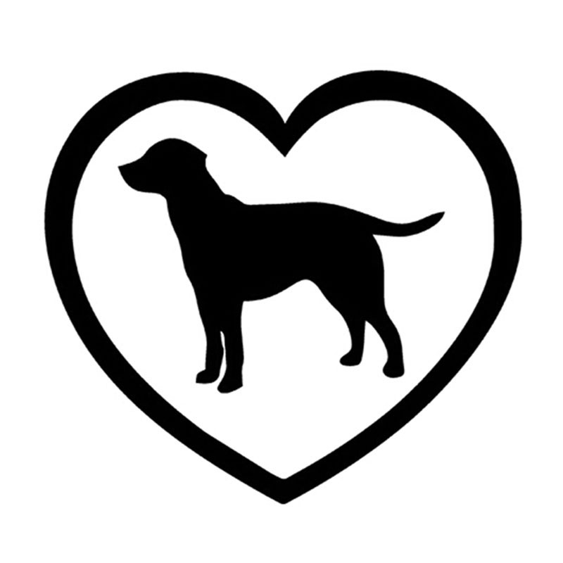 12.8*11.6CM Love Window Labrador Retriever Decal Sticker Car Styling Fashion Window Decorative Stickers Sliver/Black C4-0135