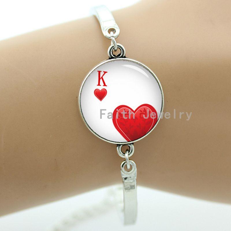 Poker cards bracelet fashion king hearts poker picture handmade glass dome k heart leisure men women jewelry Dice charms