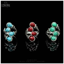 Women Fashion Bohemia Calaite Stone Rings Tibet Antique Silver Plated Rings Alloy Carving New Arrival Rings(China)