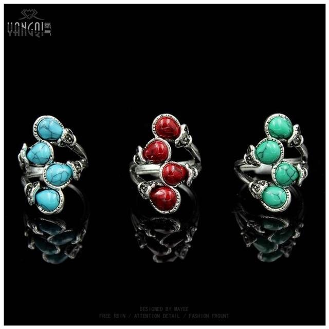Women Fashion Bohemia Calaite Stone Rings Tibet Antique Silver Plated Rings Allo