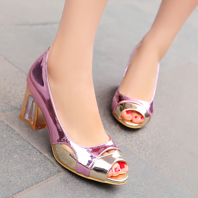 ФОТО 2016 spring autumn Concise women shoe slip-on Square heel Splice color Cut-Outs Peep Toe sandals Patent leather size 34-39 T1034