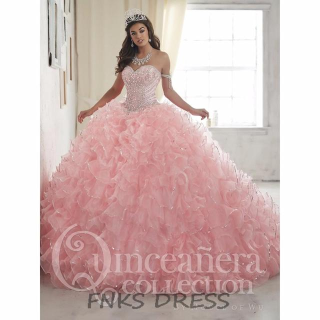Borda Sparkly Querida Rosa Quinceanera Vestidos 2017 Lace Up Baratos Vestidos Quinceanera Doce 16 Vestido de Baile Vestido de Baile QD22