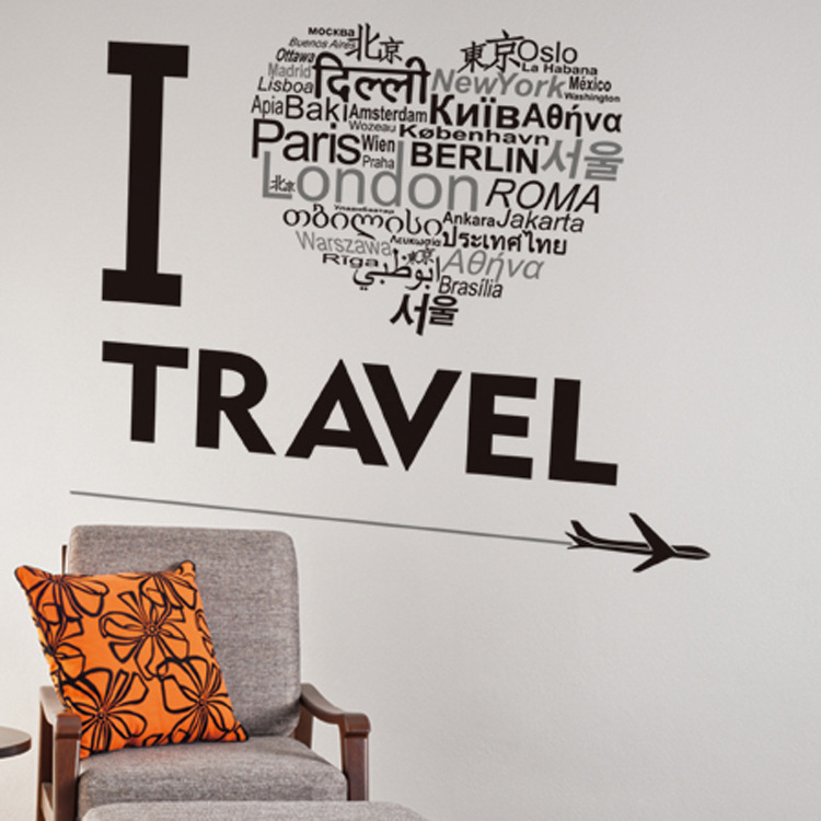 I love travel wall art mural poster decor airplane heart shape english words wall quote decal sticker home decor wall applique in wall stickers from home