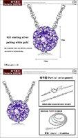 опк ювелирный бесплатная доставка белое золото ГП 925 серебряный ожерелье хрустальный кулон ювелирные изделия польский блестящие цветок красочные циркон камень