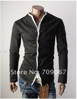 бесплатная доставка мужские рубашки, особенности без воротник рубашки, свободного покроя тонкой стильный рубашки цвет : белый, черный размер : мл-хl